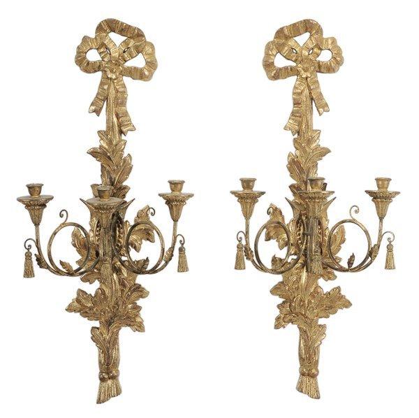 9: Pair Louis XVI Style Carved, Gilt Wood