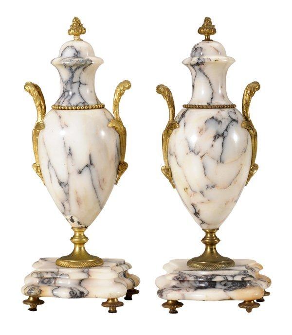 12: Pair Gilt Bronze White Marble Urns
