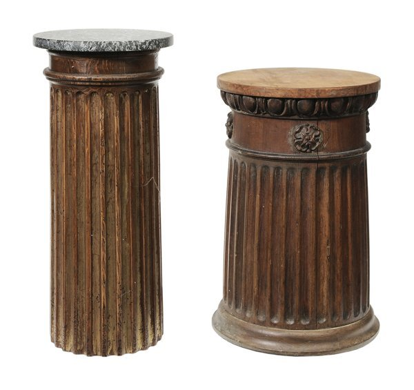 20: Two Carved Wood Marble-Top Column-