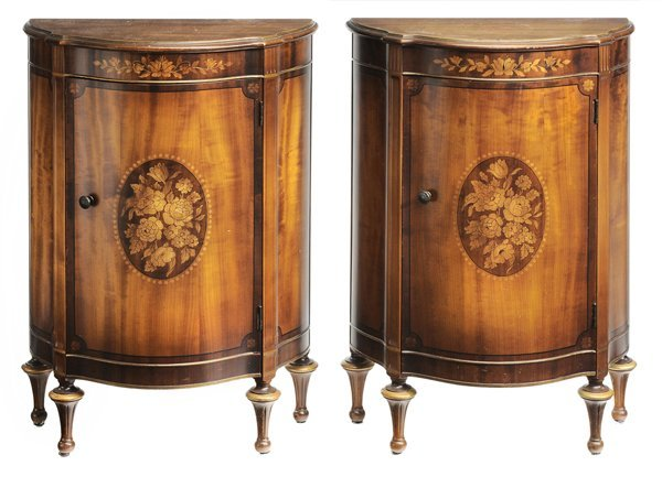 23: Pair Fruitwood Marquetry Style Side