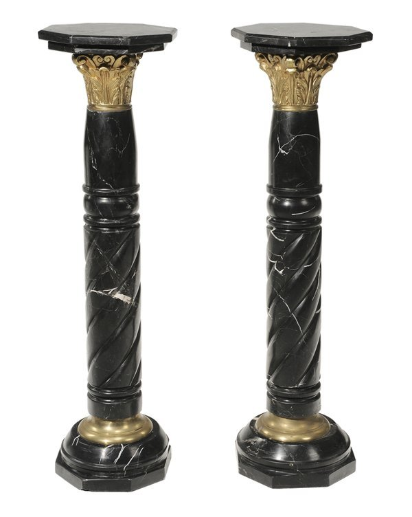 24: Pair Black and White Carved Marble