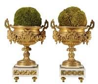 170 Pair Louis XVI Style Gilt Bronze Urns