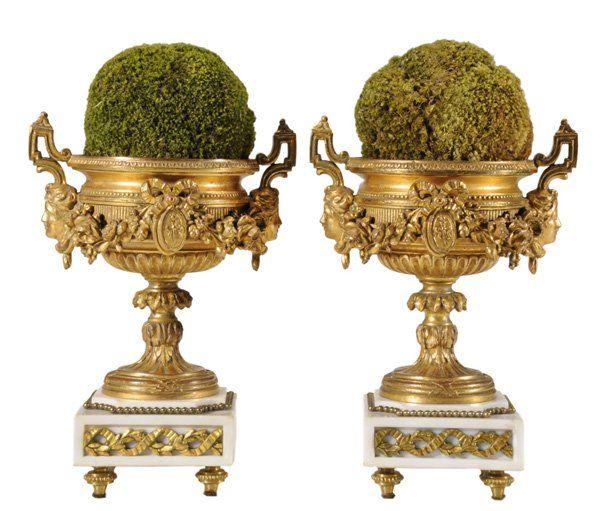 170: Pair Louis XVI Style Gilt Bronze Urns