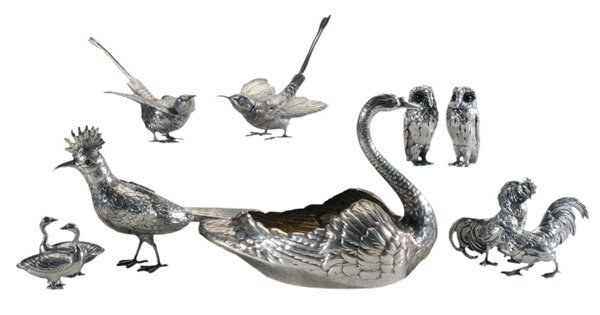 343: Group of Silver Bird Items