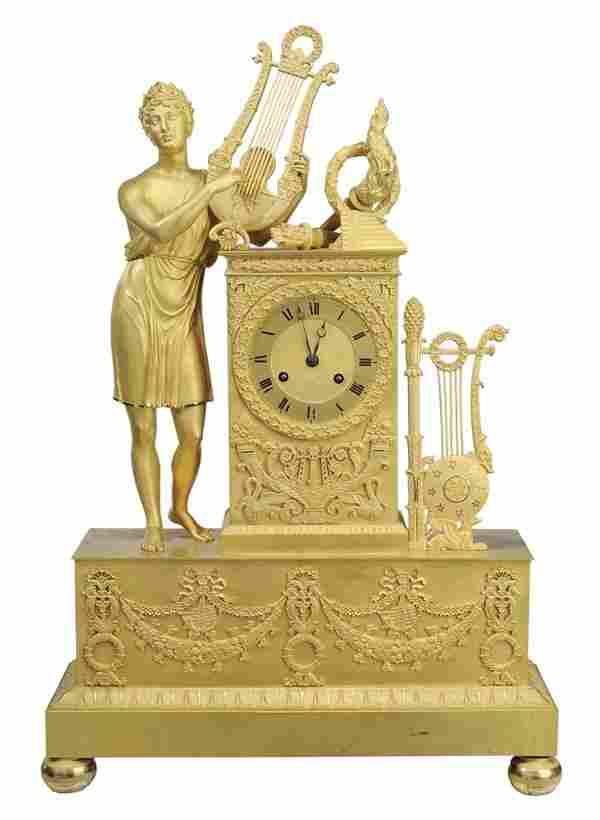 Fine Empire Gilt Bronze Shelf Clock