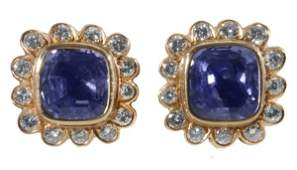 1235: Pair Sapphires, Diamonds Earrings