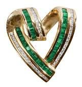 1256 Gold Emeralds Diamonds Heart Slide