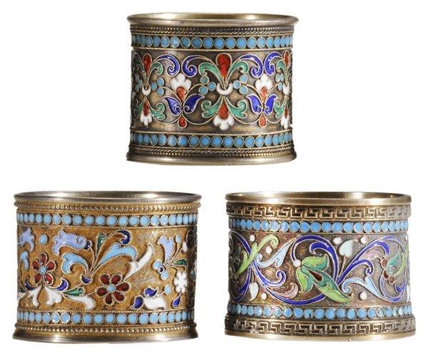 Three Russian Gilt Silver Napkin Rings