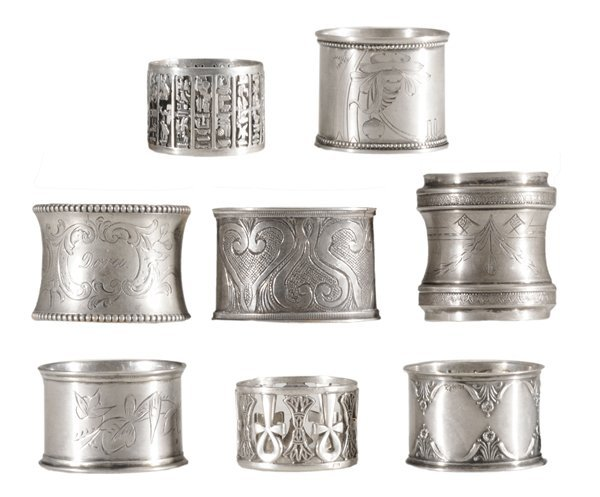 Eight Continental Silver Napkin Rings