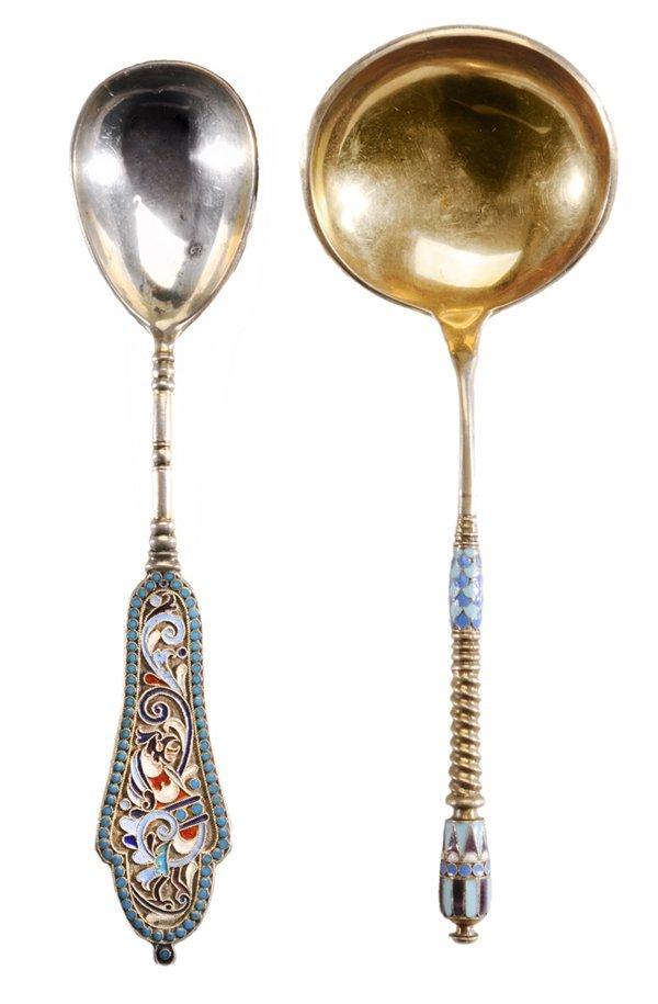 Two Russian Gilt Silver Enamel Spoons