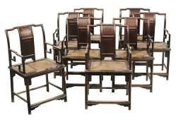 Set of Eight Chinese Hardwood Open-Arm