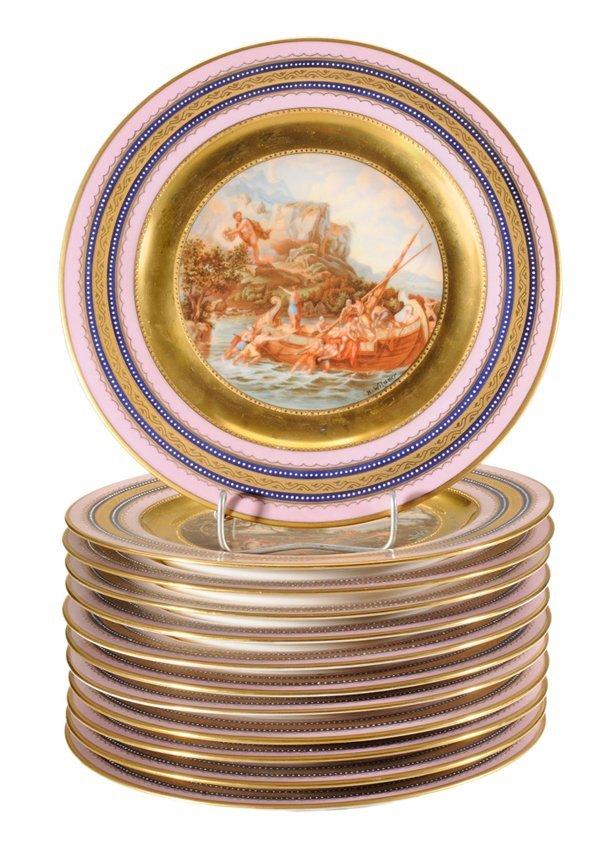 Set of 12 Vienna Style Porcelain