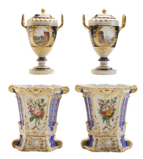 Pair of Vienna Style Lidded Urns,
