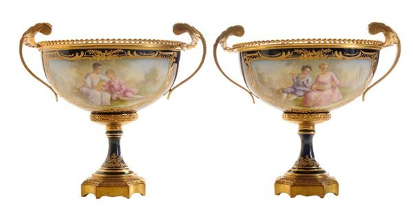 Pair Sèvres Style Bronze-Mounted