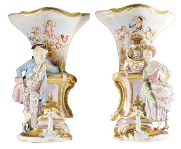 Pair Old Paris Figural Porcelain