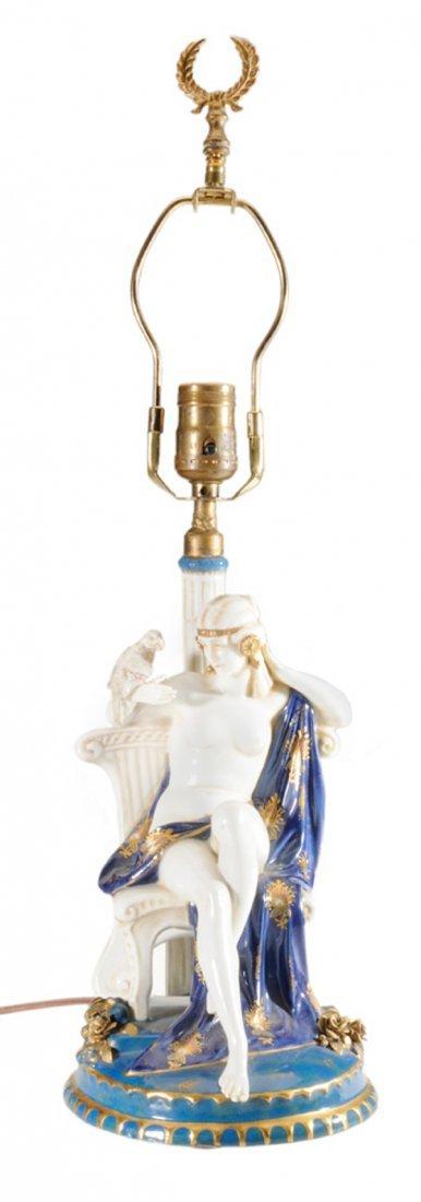 Egyptian Revival Porcelain Lamp