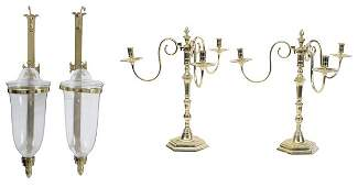 Pair Brass Candelabra and Pair Brass