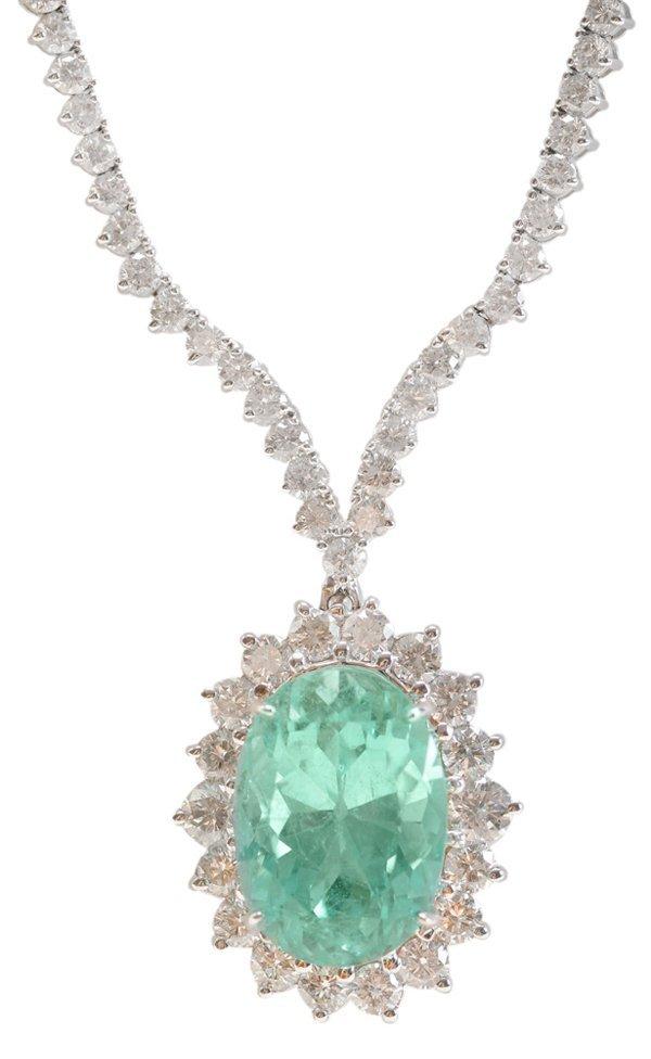11.12 Ct. Diamond, Emerald 18 Kt.