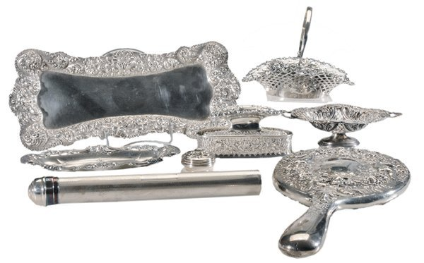 Eight Ornate Sterling Dresser Pieces