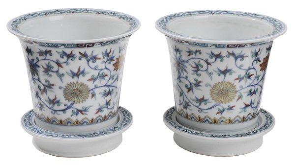 Two [Doucai] Ware Flowerpots