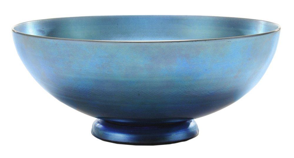 Steuben Blue Aurene Glass Bowl