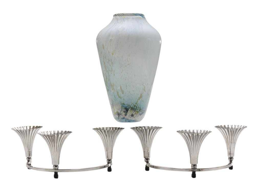 Silver Plated Candleholders and Vase