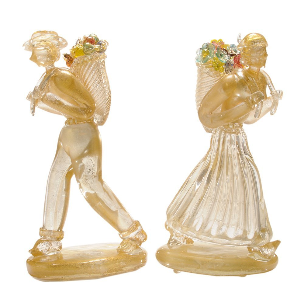Pair of Murano Glass Figures Carrying
