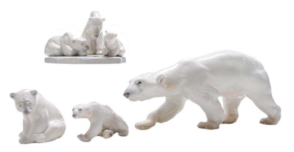 Four Lladro and B&G Ceramic Polar