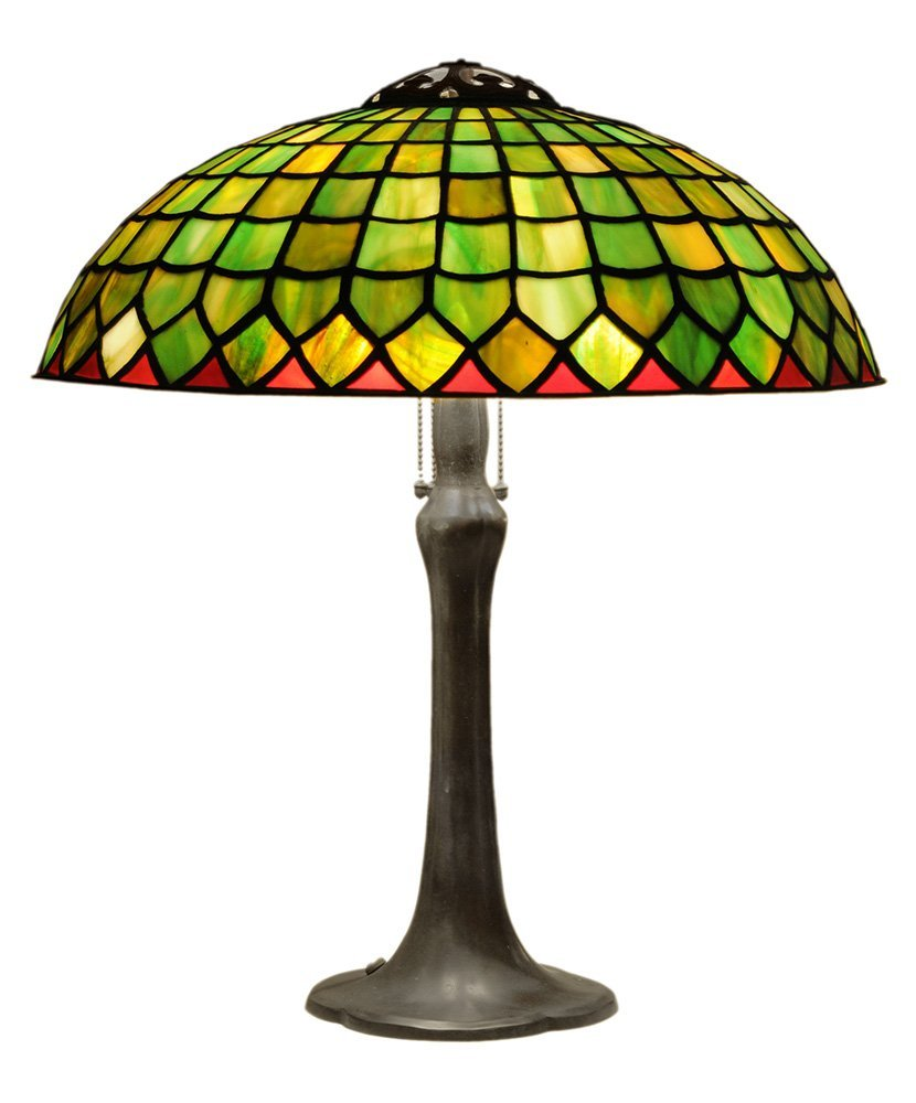 A Large Handel Stained Glass Lamp