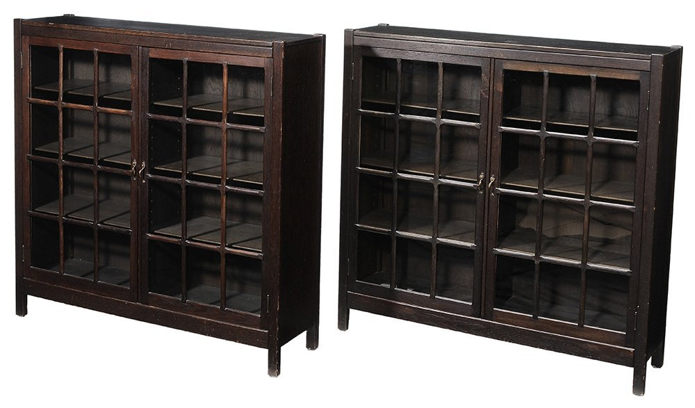 Pair Arts and Crafts Oak Bookcases