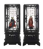 Pair of Wood and Glass Lanterns