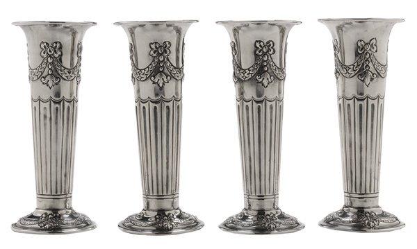 Set of Four English Silver Vases