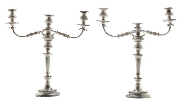 Pair Silver-Plate Two Arm Candelabra