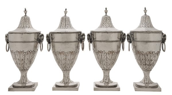 Set of Four Silver-Plated Covered Urns