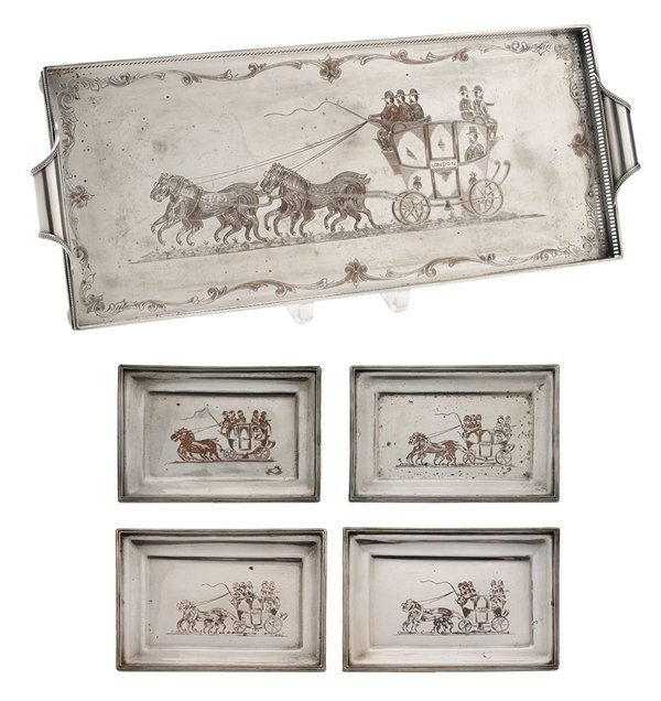 Five Silver-Plate Trays