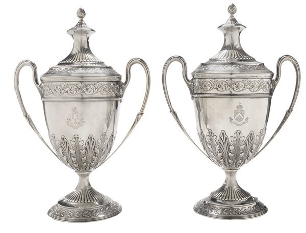 Pair Georgian Style Covered Sterling