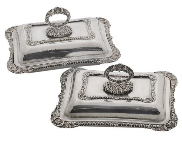 Pair Silver-Plate Entrée Dishes