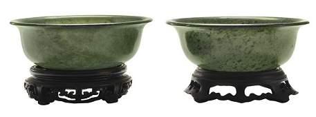 Pair Carved Hardstone Bowls