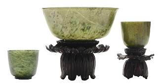Carved Hardstone Bowl, Two Cups