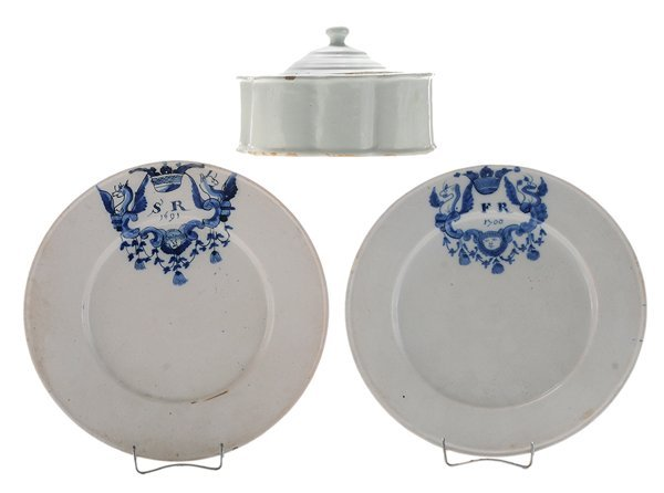 Two Early Delft Plates, Ink Stand