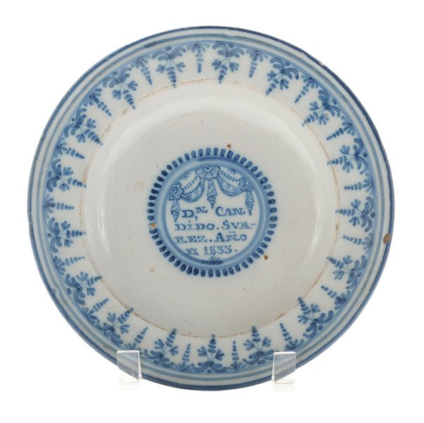 Spanish Delft Blue and White Shallow