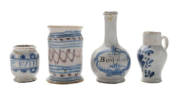Four Early Delft Decorated Vessels