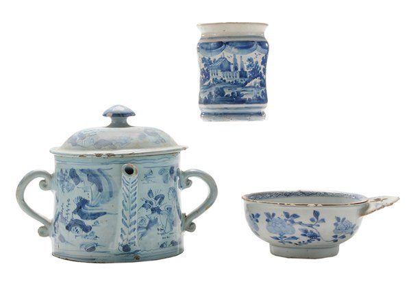 Two Early Delft Blue-Decorated