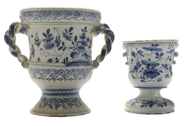 Two Delft Blue and White Footed Urns