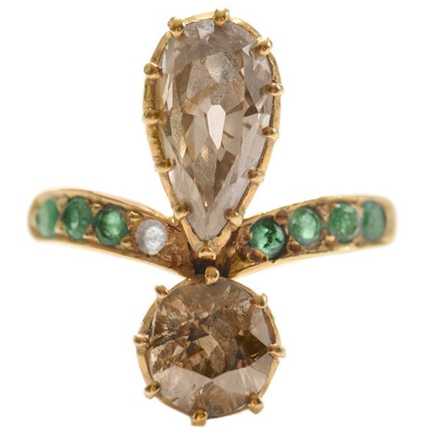 18 Kt. Gold Ring with Emeralds and