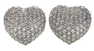 Pair Heart Shaped Diamond Pavé