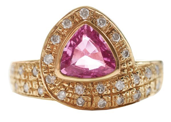 14 Kt. Gold, Pink Sapphire Ring