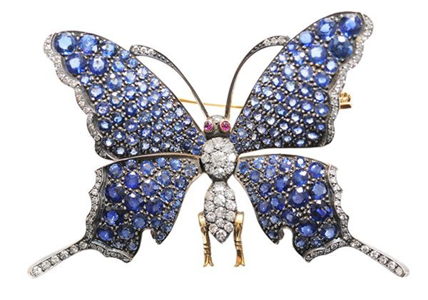 Jeweled Butterfly Trembler Brooch