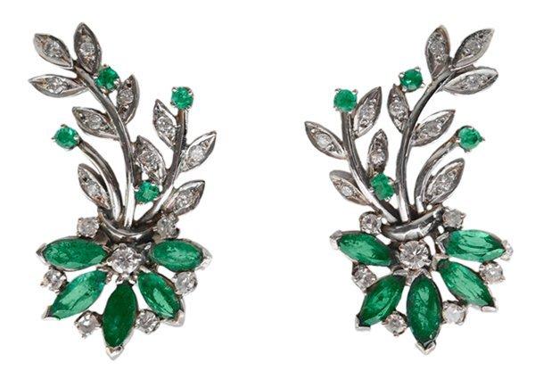 14 Kt. Emerald, Diamond Earrings