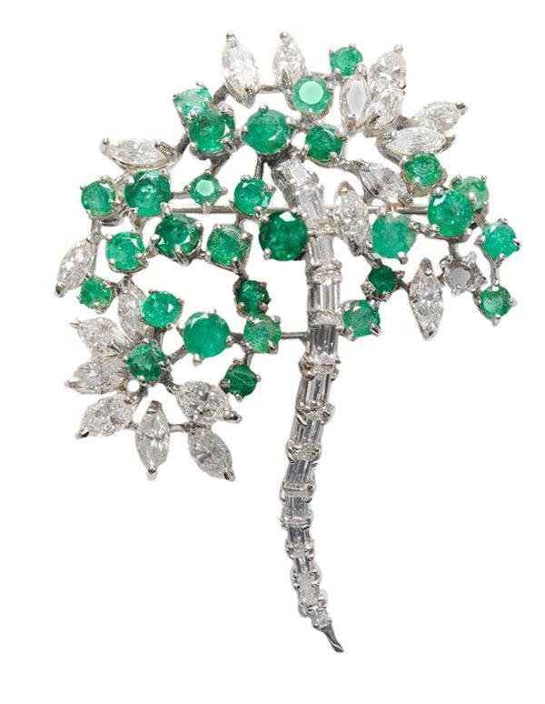 14 Kt. Gold Emerald Diamond Brooch